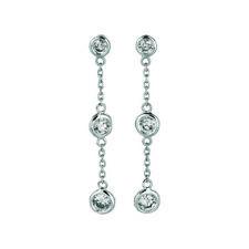 0.50 Ct Natural Diamond Bezel Drop Earrings G SI 14K White Gold