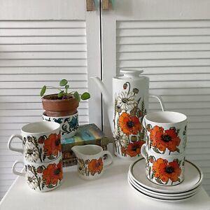 Vintage J&G Meakin Studio Pottery Poppy TEA / COFFEE SET for 4 cups, saucers pot