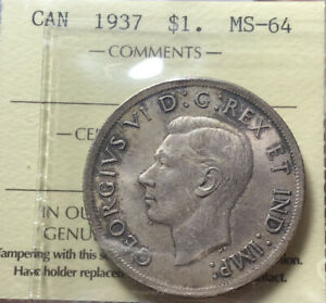 Canada 1937 Silver Dollar $1 ICCS MS64 Nice Toning