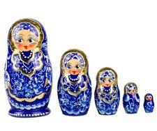 "4"" Russian Nesting Dolls Matryoshka Gzhel  Pattern Hand Painted in Russia 5 pcs"