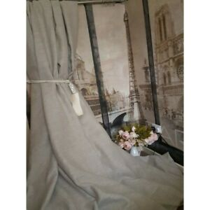 """Rustic Stone 100% Irish Linen Weighted Cotton Lined Curtains 113"""" L x 80"""" W"""
