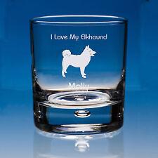 More details for norwegian elkhound dog lover gift personalised engraved whisky glass - birthday