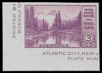US #750a 1934 3¢ Mt. Rainier Imperf Single from S/S Mint VF NH. FREE SHIPPING!