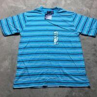 90s VTG NWT STRIPED Turquoise Blue T Shirt VAPORWAVE White Skate S Grunge Bold