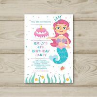 Mermaid Birthday Party Invitations Personalised Under the Sea