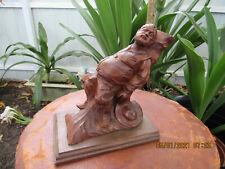 True Vintage Black Forest Wooden Carved Man Napping~Signed!