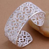 beautiful Fashion silver Women crystal cuff bangle Bracelet jewelry wedding 925