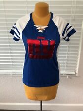New York Giants Womens Jersey Tee NFL Draft Me Shimmer Lace Up Shirt NWT
