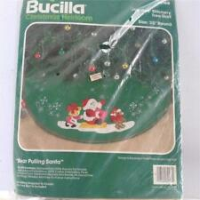 Bucilla Bear Pulling Santa Christmas tree skirt kit unopened Nip Nos