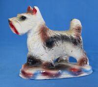 """Vintage Carnival Chalkware  Westie Scottish Terrier Dog 5.5""""x6.5"""""""