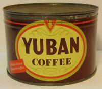 Old Vintage 1950s Yuban Coffee GRAPHIC COFFEE TIN 1 POUND San Leandro California