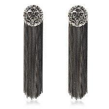 Long Tassel Dangle Earring Black Chain Tassel Round Crystal Dangler Earrings