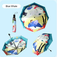Lady 3 Folding Umbrella Floral Parasol Windproof 50+ UV Protection School Gift