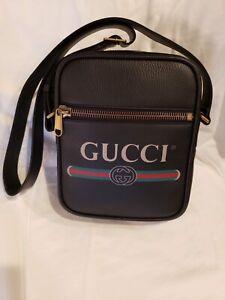 Authentic New Gucci Print Messenger bag black leather