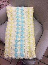 AFGAN 50 X 50 WHITE BLUE YELLOW  HAND MADE CROCHET THROW COVER BLANKET USED