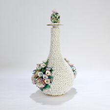 Antique Paris Porcelain Flower Encrusted Schneeballen Bottle by Jacob Petit - PC