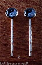 "LTV Creation Bobby Pin Pair ""Yin Yang"" Round Glass Top Hair Pin Accessory"