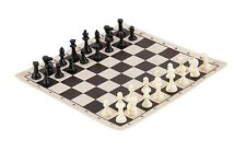 Miniature Chess Set – 32 Black & White Mini Chess Pieces - Black Vinyl Board