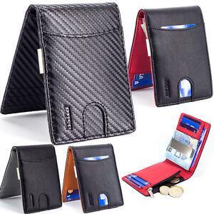 Cartera Hombre Pequeño Billetera Porta Tarjetas Protección RFID Pinza Monedero