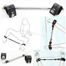 PU Leather Stainless Steel Restraint Leg Spreader Bar Ankle&Wrist Cuffs Locks