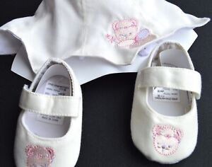 NEW Soft Touch Cream fairy bear baby hat and shoe set 6-12months