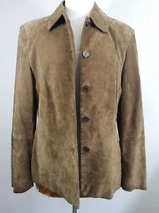 Ladies UK14 Smart Bianca Brown Suede Fitted Jacket Satin Lined