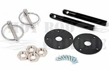 Universal Aluminum Hood Pin Latch Bonnet Flip Locking Kit Black Chevy Ford Mopar