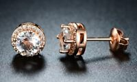 2.00 Ct Round Cut Autrian Crystal Halo Stud Earrings 10k Rose Gold ITALY MADE