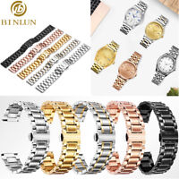 Stainless Steel Watch Band Strap Double Clasp Solid Link Kit w/ Curved End Strap