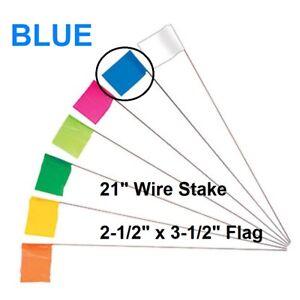 "1000 Pack Keson 21"" Wire Surveyor Stake w/ 2.5"" x 3.5"" BLUE Marking Flag, STK21B"