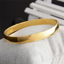 Fashion 18K Gold Plated Oval Plain Bangle Bracelet Solid Lady Jewelry Party Gift
