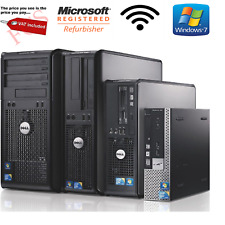 WINDOWS 7 FULL DELL COMPUTER DESKTOP ,TOWER  PC 4GB RAM 160GB HDD WIFI