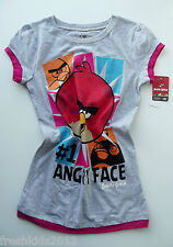 "Angry Birds Girls ""#1 Angry Face"" Graphic T-Shirt size Large NWT G82551"