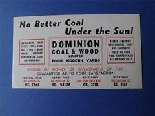 ADVERTISE INK BLOTTER DOMINION COAL & WOOD TORONTO CANADA OLD PHONE NUMBER
