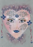 METAPHYSICAL MASK ART NOUVEAU SILVER ROSES SAPPHIRE BLUE EYES GIRL PAINTING