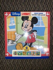 Melissa & Doug Disney Mickey Mouse Wooden Cube Kids Ages 3+ Puzzle 6 Scenes NEW