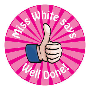 80 Personalised Teacher Reward Stickers for Pupils pink thumbs up well done