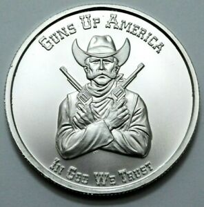 1 OZ 999 SILVER Round Guns Up America Your Right to Bear Arms 2nd Amendment;N R