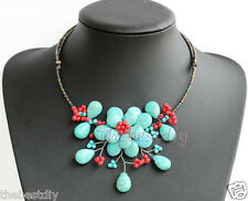 baroque branch Turquoise Red Coral Flower Necklace Woman Christmas gift