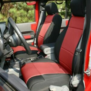 Rugged Ridge 13297.53 Black/Red Front & Rear Seat Covers for Wrangler JKU 4-Dr