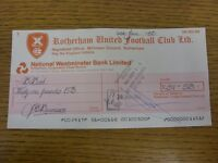 24/06/1983 Rotherham United: Official Club Cheque - payable to Barbara Bird [Cle