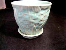 Vintage Nelson McCoy Pottery Turquoise Planter Basket Weave  Mint