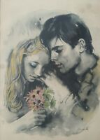 EXTREMELY RARE SANDU LIBERMAN YOUNG LOVERS WATERCOLOR LITHOGRAPHIC ART PRINT