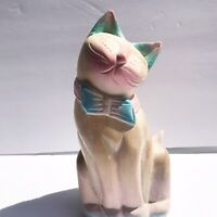 Vintage Wood Carved Painted Siamese Style Cat Figurine Standing B1