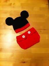 crochet baby minnie / mickey mouse hat headband and nappy cover photo props 0-6