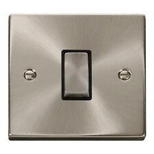 Click Deco 10 amp 1 gang 2 way Plate Light Switch Satin Chrome Black insert
