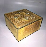 Heavy Glass Trinket Box with Shimmering Lustre Finish