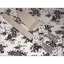 Platinum fleur de lis wedding collection cake and knife server set