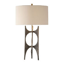 Modern Hammered Bronze Metal Sculpture Table Lamp | Open Abstract Mid Century