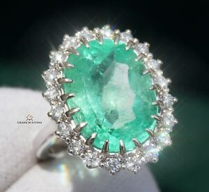 Emerald Ring Gold Diamond Colombian Natural 8.71CT GIA Certified RETAIL $28700